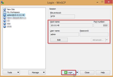 WinSCP-login